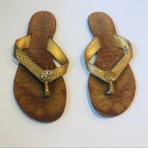 TORY BURCH Gold Snake Skin Style Sandals 6